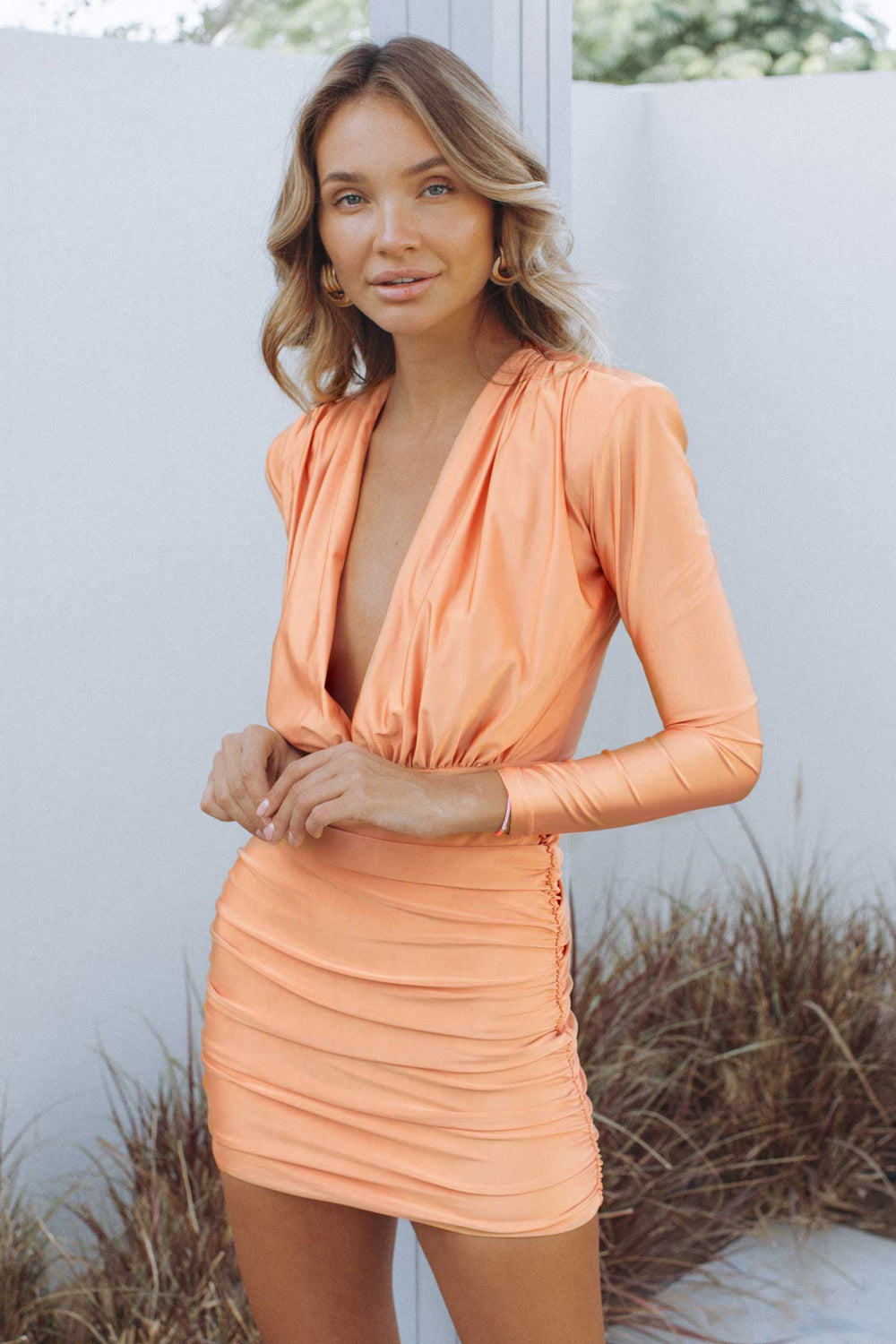 TIA MINI DRESS - CANTALOUPE (6120848261298)