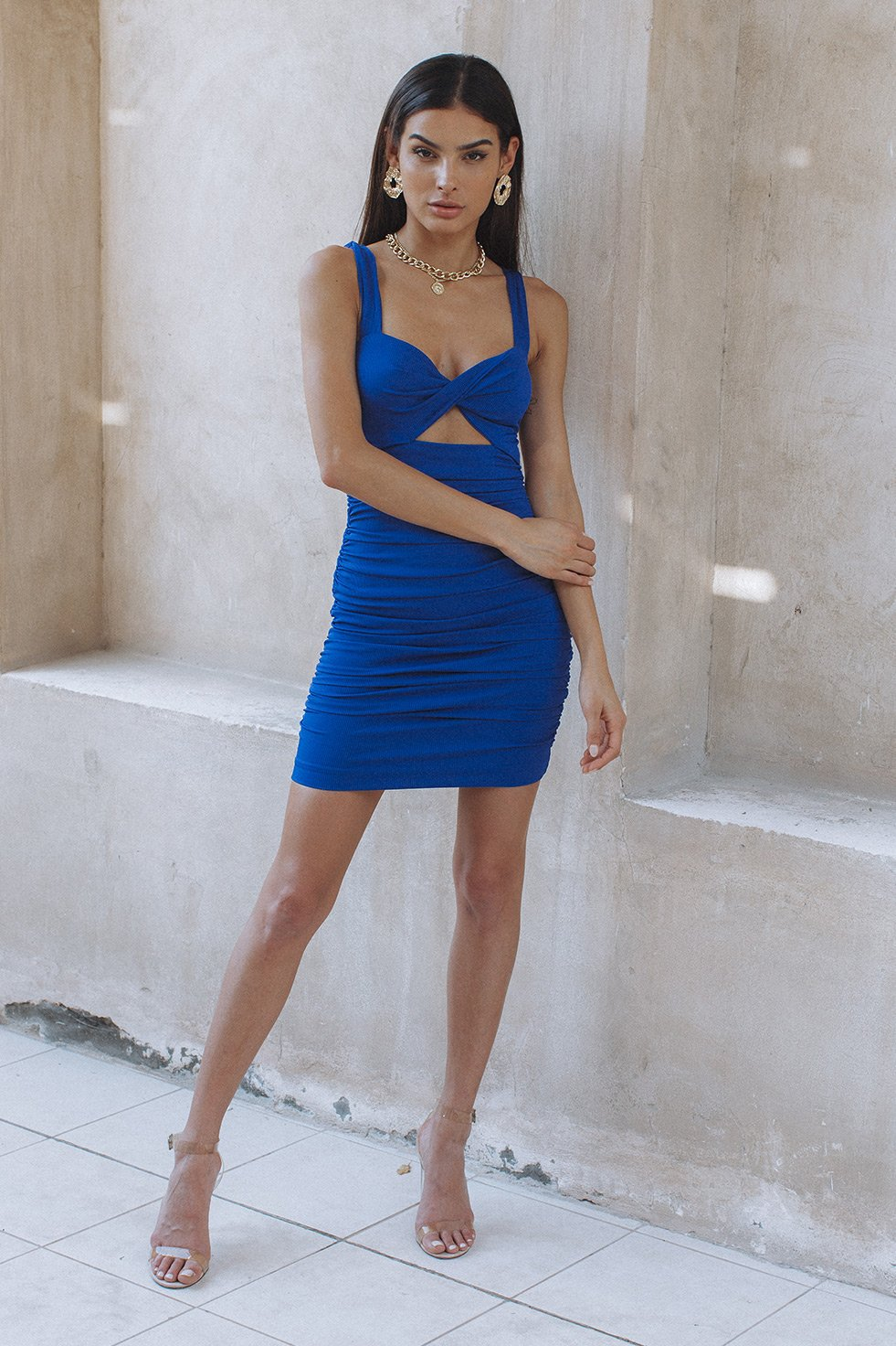 ZORA TWIST DRESS - BLUE (6232728535218)