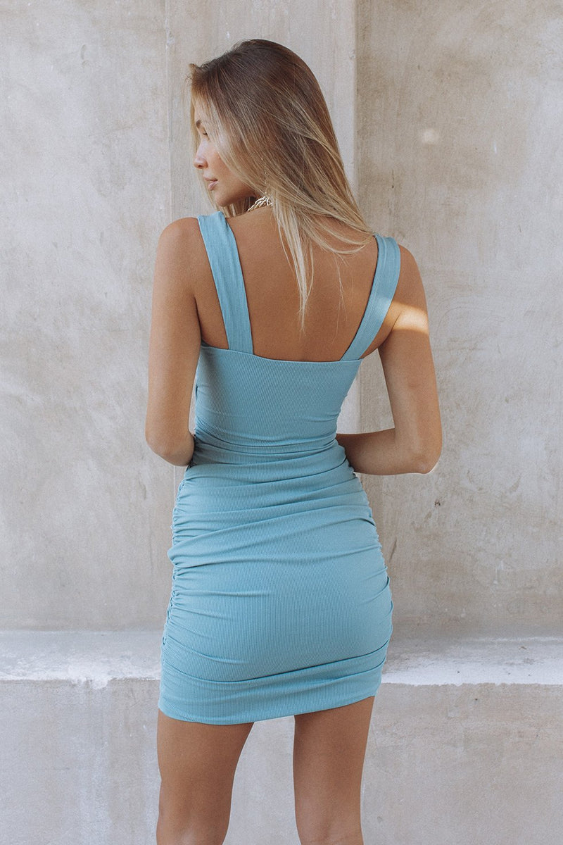 ZORA TWIST DRESS - TEAL (6232729452722)