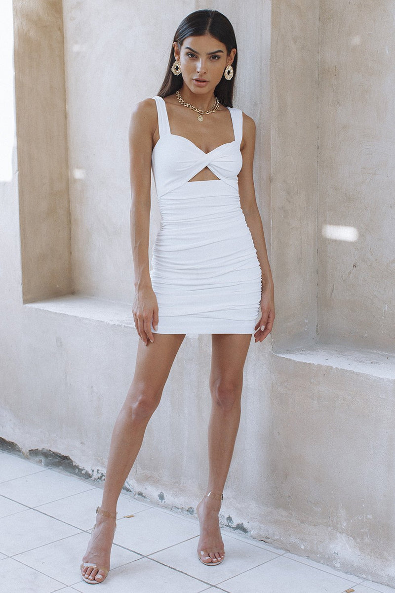 ZORA TWIST DRESS - WHITE (6232727355570)