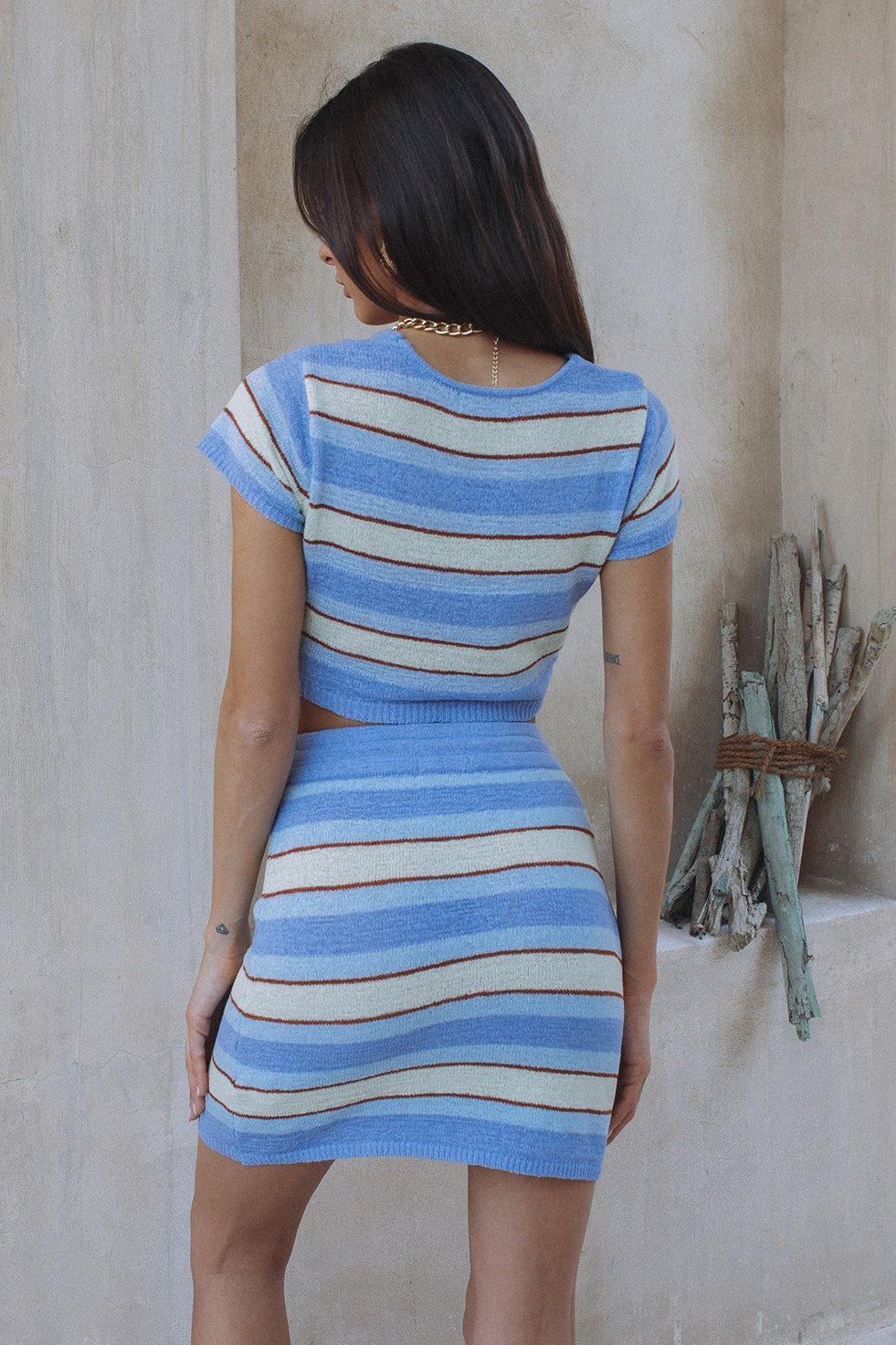 ZORYA SET  - BLUE/LIME STRIPE (6232732434610)