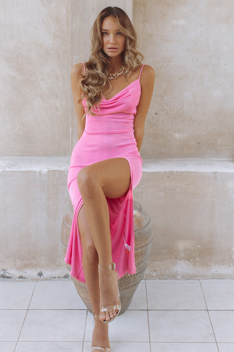 SLINKY SLIP DRESS - BUBBLEGUM (6275268346034)