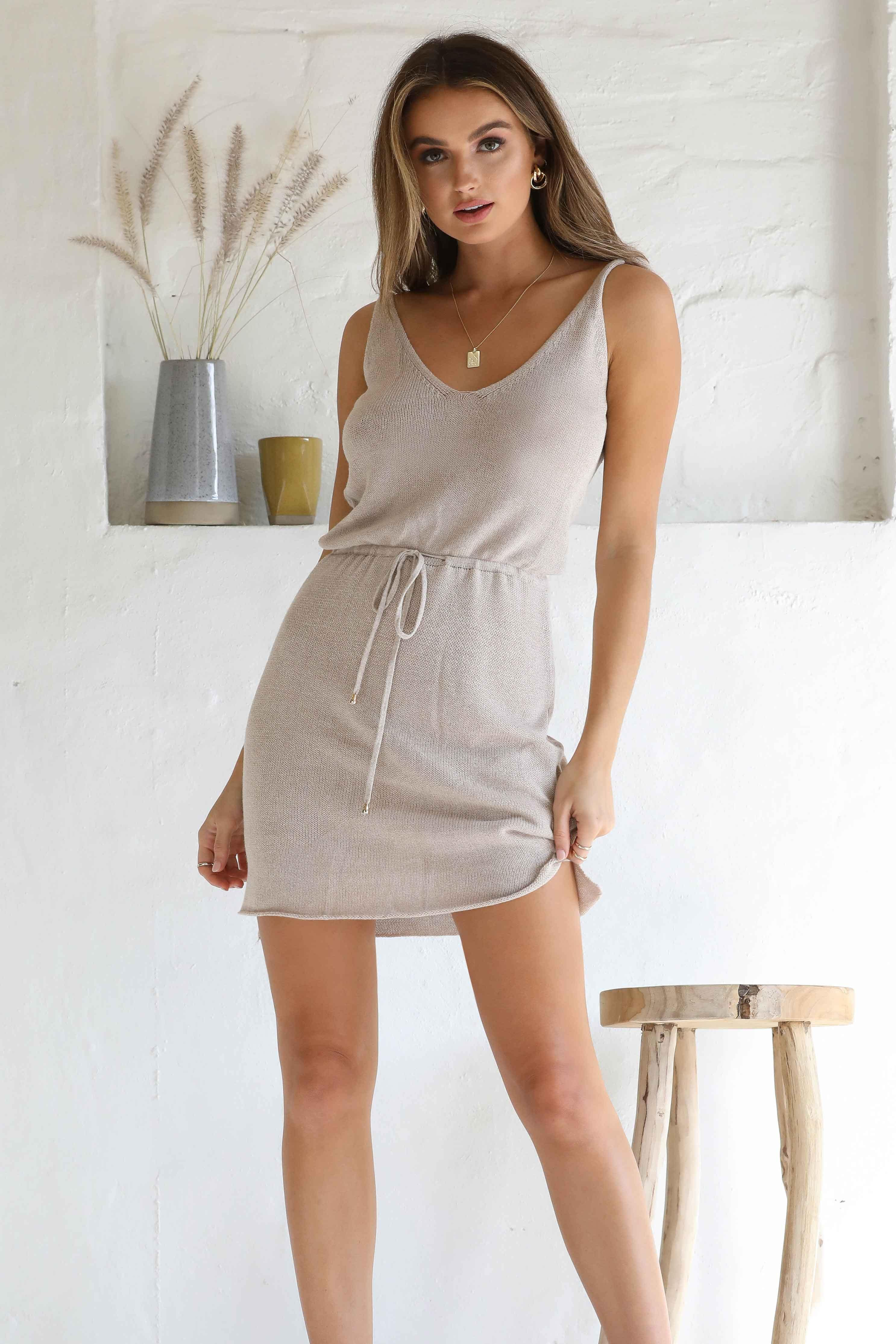 ELLIE KNIT DRESS - OATMEAL | Women's Online Shopping | CHICLEFRIQUE  (4469947695193)