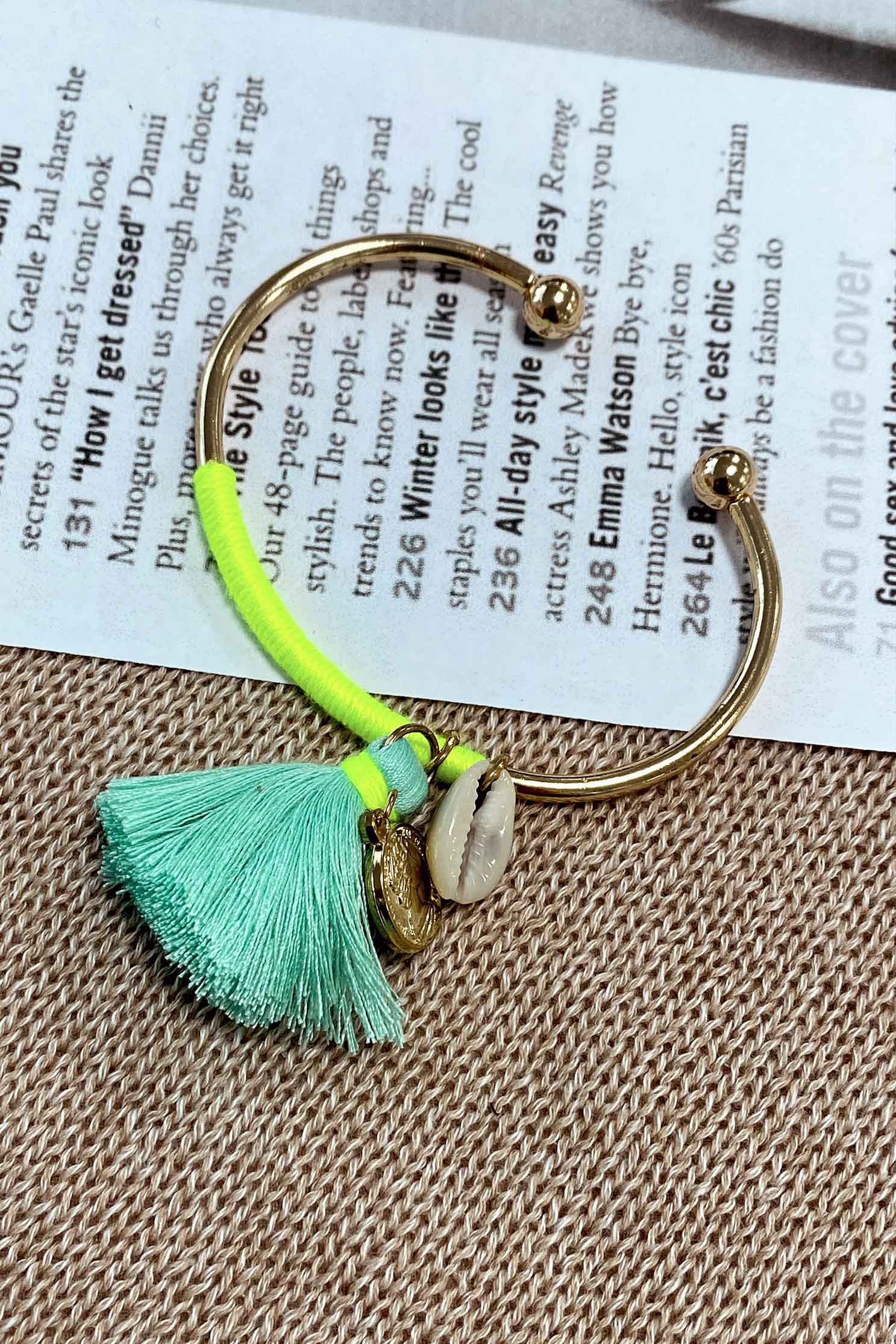 BOHO TASSEL BANGLE IN TURQUOISE (1991476740185)