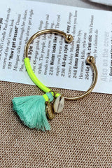 BOHO TASSEL BANGLE IN TURQUOISE