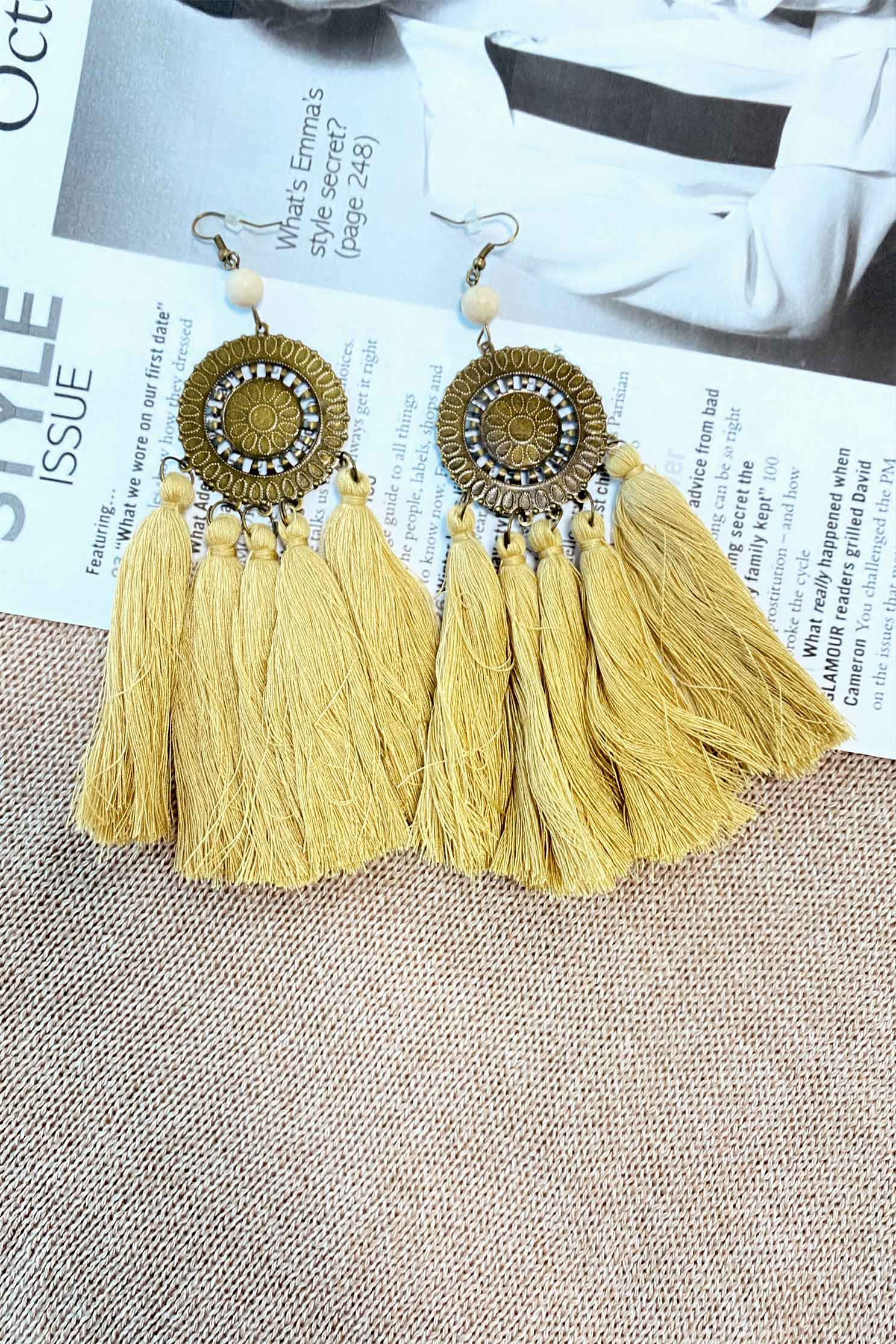 ZETA EARRINGS IN YELLOW (4390887850073)