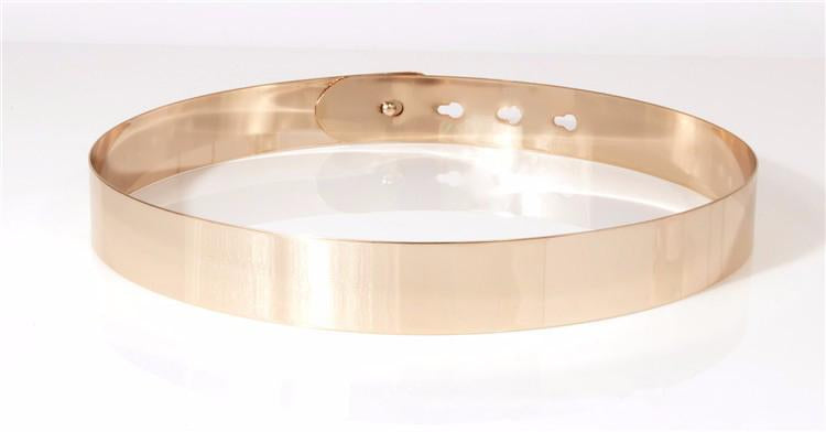 WIDE METAL WAIST BELT- GOLD - Chic Le Frique