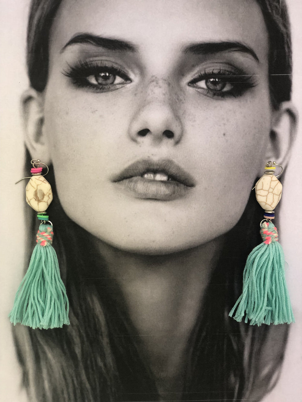 BOHO TASSEL EARRINGS IN TURQUOISE - Chic Le Frique