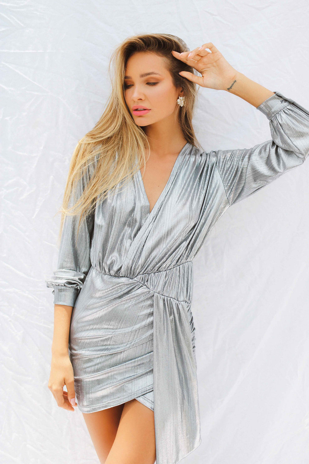 NADA DRESS IN SILVER | Women's Online Shopping | CHICLEFRIQUE  (2047709839449)