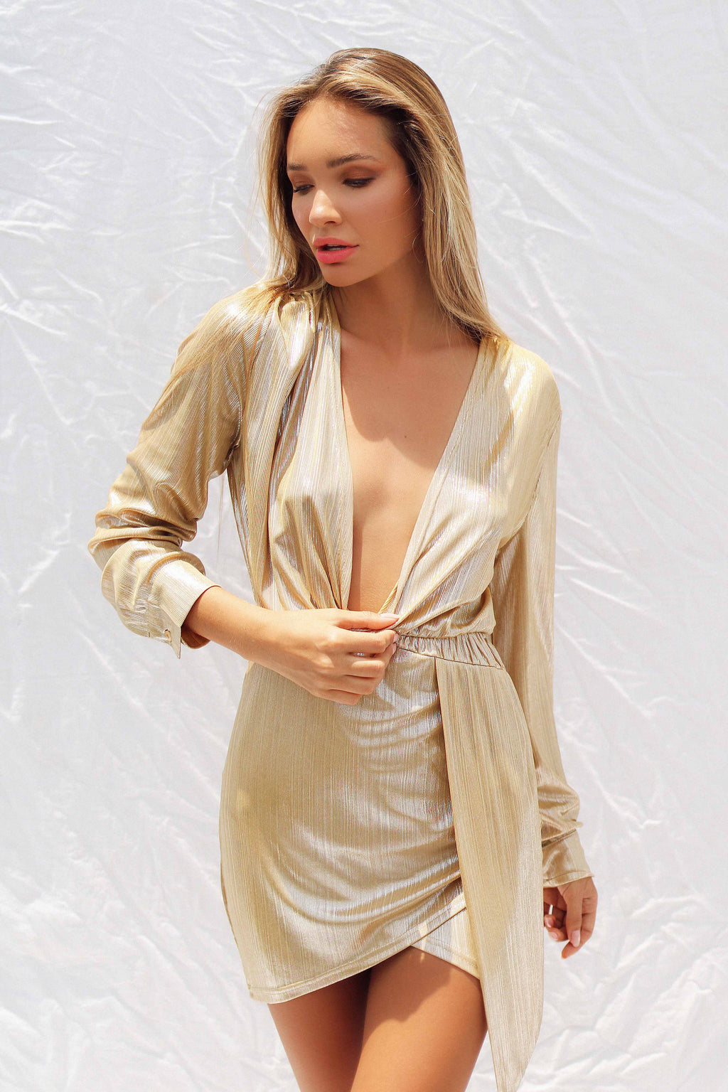 NADA DRESS IN GOLD | Women's Online Shopping | CHICLEFRIQUE  (2059243225177)