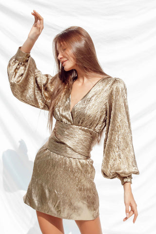 NADA DRESS IN GOLD