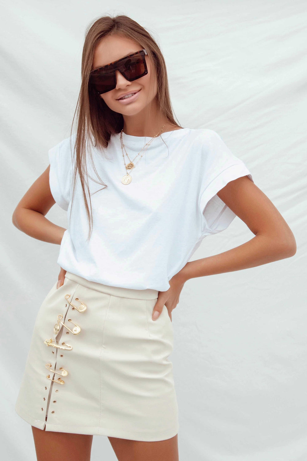 KARLA SKIRT IN BEIGE - Chic Le Frique