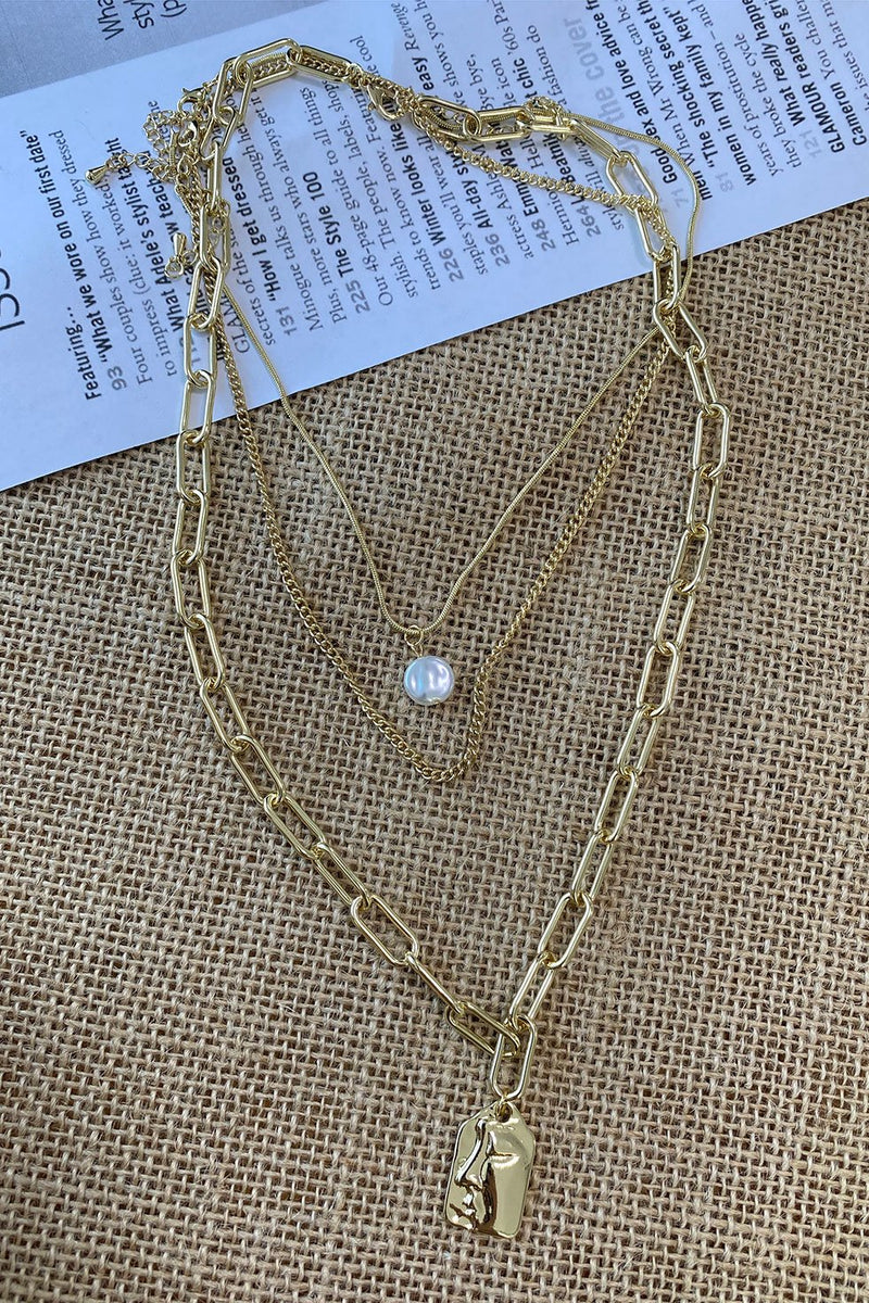 GOLD WITH PEARL NECKLACE (6262621929650)