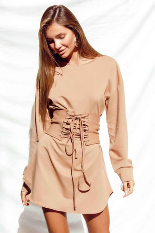 SOLACE DRESS IN BEIGE
