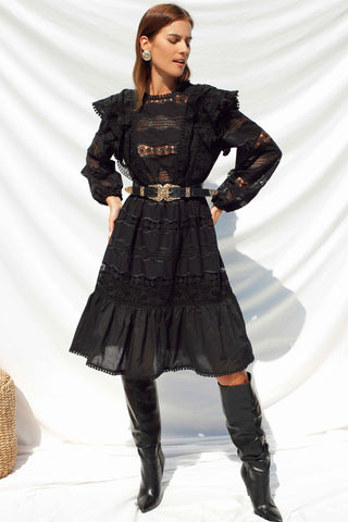 MAY SHIRRED DRESS - BLACK