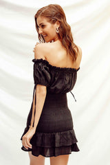 MAY SHIRRED DRESS - BLACK (4469969977433)