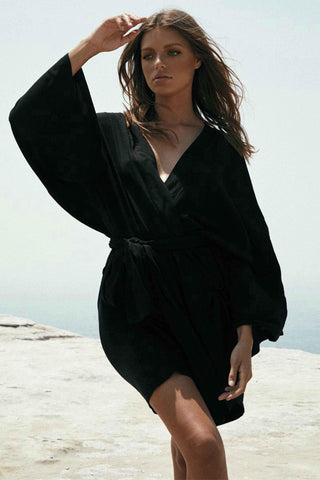 SORENTO BEACH DRESS IN BLACK