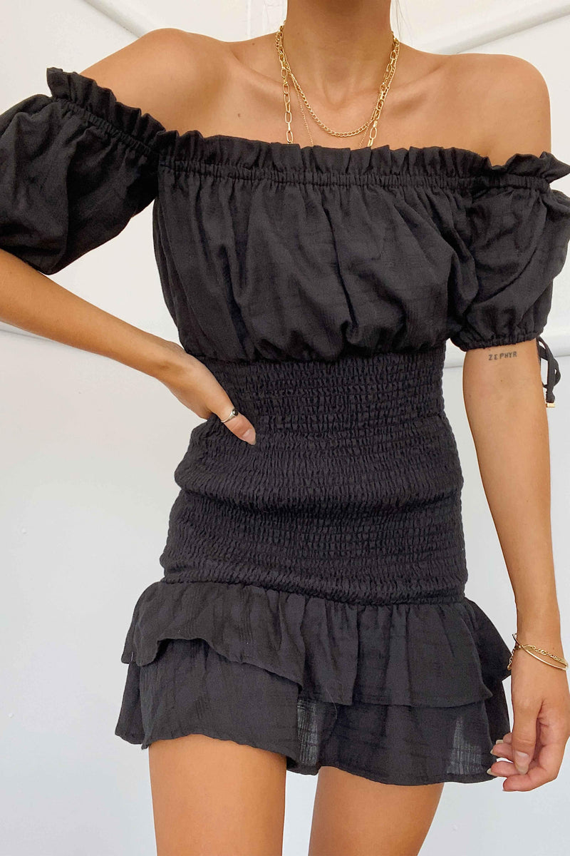 MAY SHIRRED DRESS - BLACK | Women's Online Shopping | CHICLEFRIQUE  (4469969977433)
