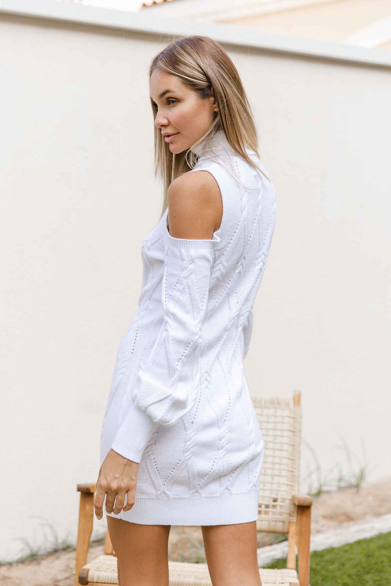 LENI KNIT DRESS - WHITE (6045302161586)