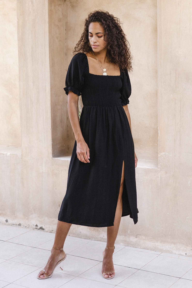 BRINLEY MIDI DRESS - BLACK (6045307470002)