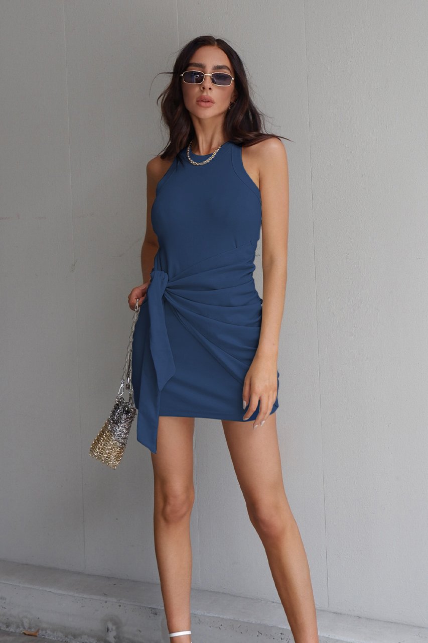TAU TIE DRESS - NAVY (6135960371378)