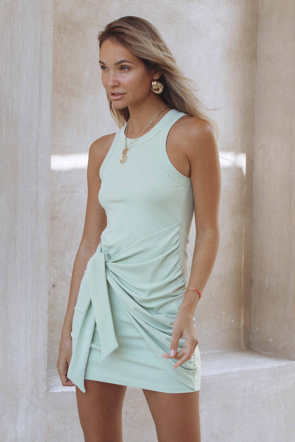 TAU TIE DRESS - SAGE (6177669710002)