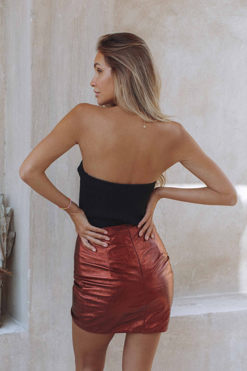 DIAMOND IN THE SKY MINI SKIRT - RUST (4663592910937)