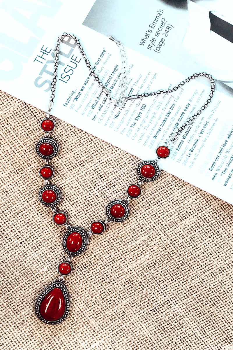 RED ANTIQUE STYLE NECKLACE (6258837422258)