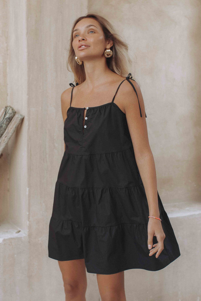 ST TROPEZ MINI DRESS - BLACK (6107818852530)