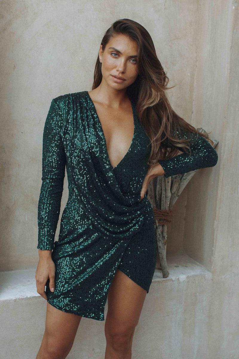 Leigh Sequin Dress - GREEN (6132967112882)