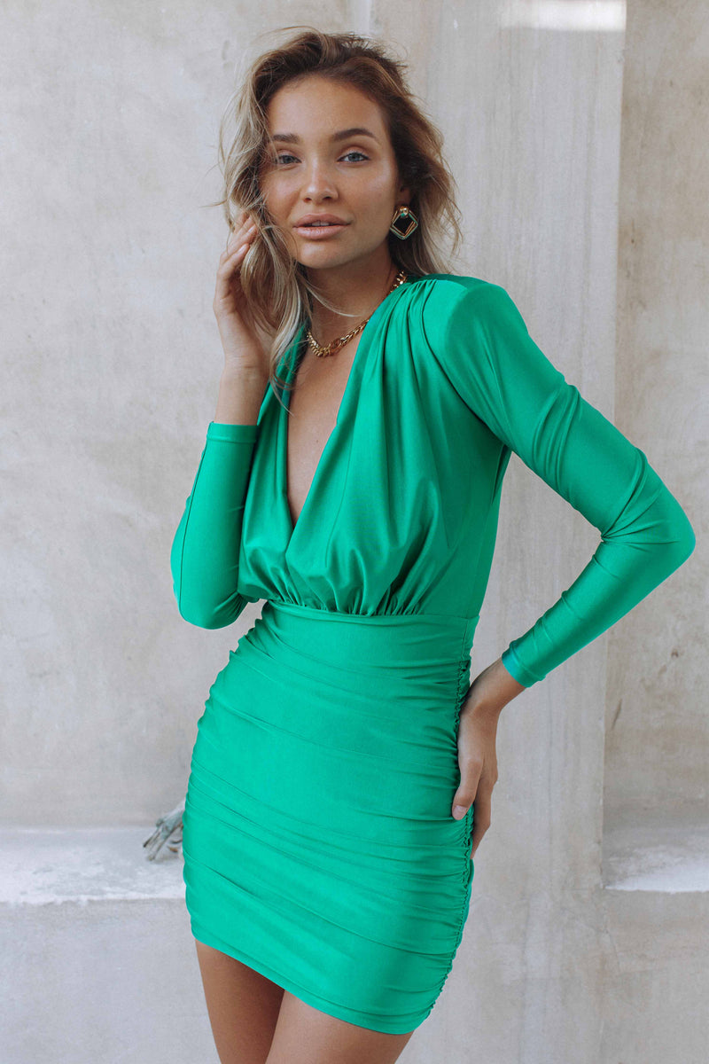TIA MINI DRESS - GRASS (6191095906482)