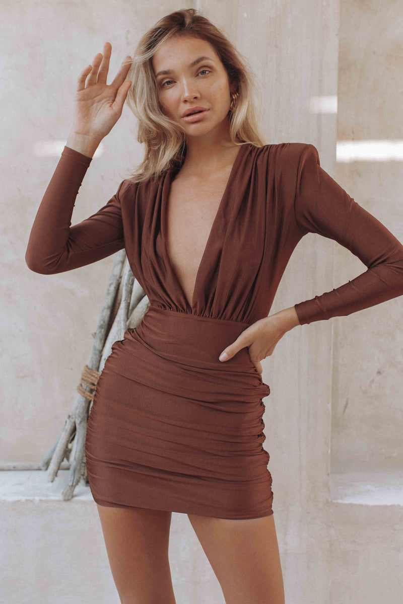 TIA MINI DRESS - CHOCOLATE (6114049687730)