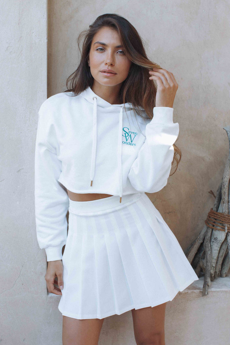 LOGO CROPPED HOODIE - WHITE (6124222578866)