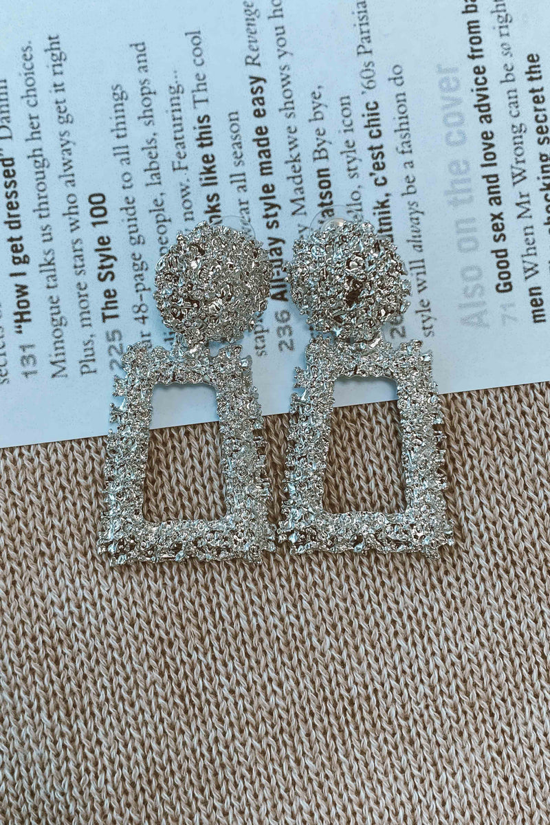 SILVER COLOR VINTAGE EARRINGS (6093969883314)