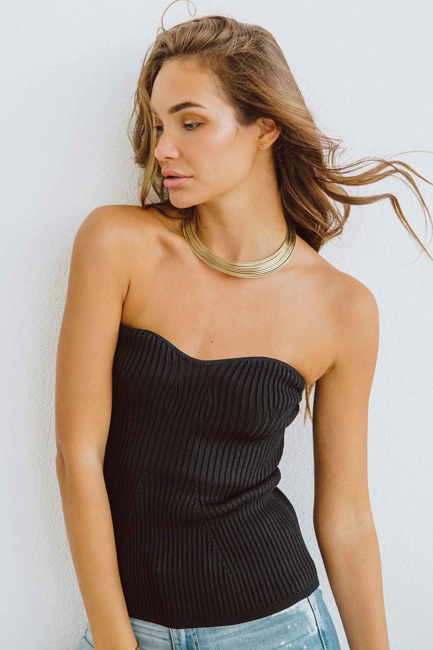 JUANA TUBE TOP - BLACK (4729781420121)