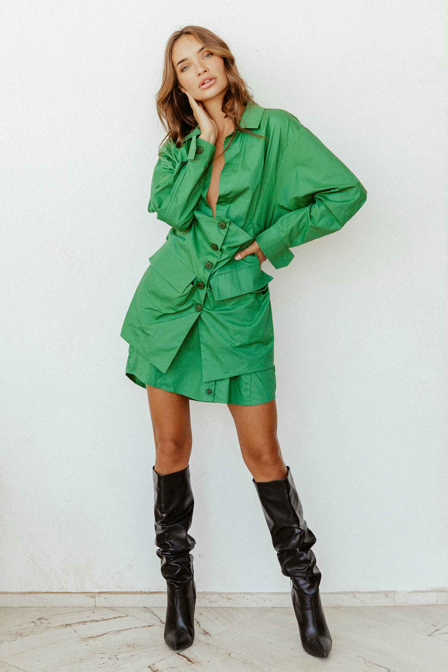 EBONY DRESS - GREEN (4729779552345)