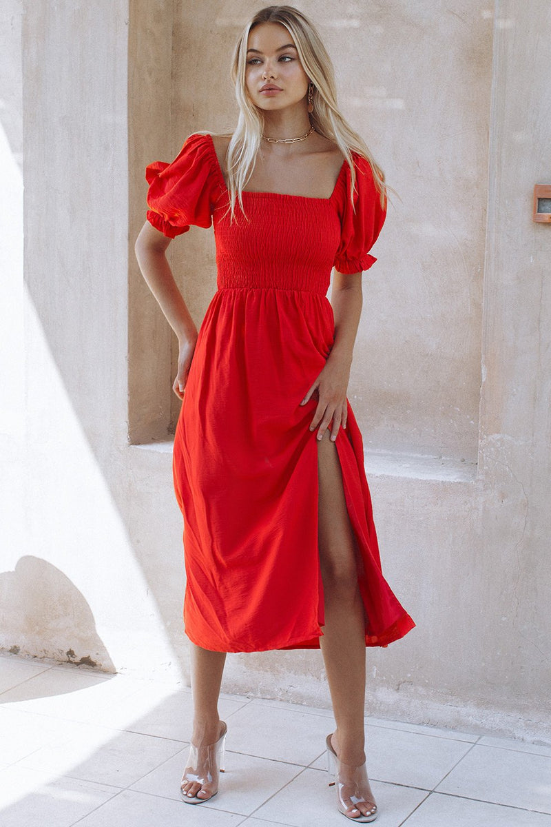 BRINLEY MIDI DRESS - RED (6146476867762)