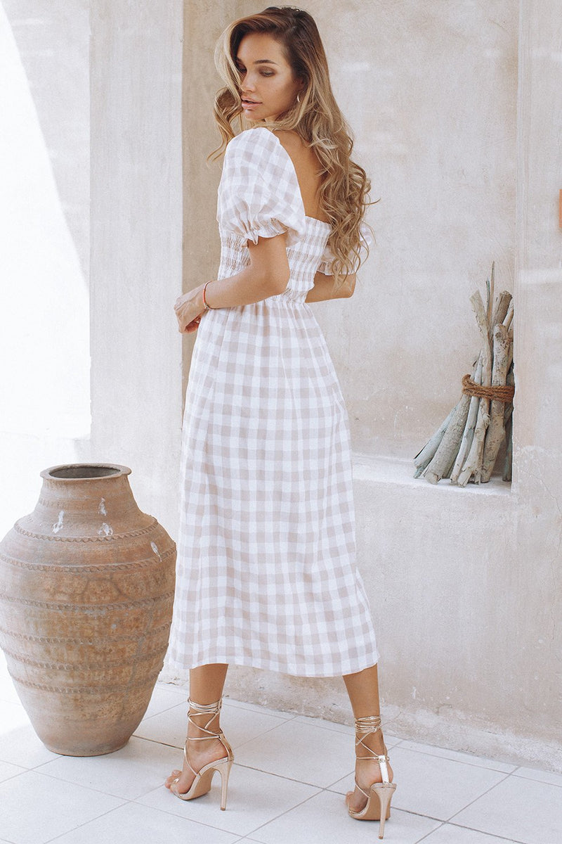 BRYNNE MIDI DRESS - SAND CHECK (6665881125042)