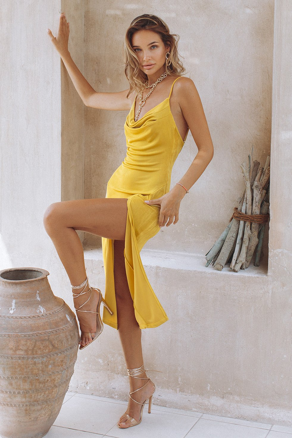 SLINKY SLIP DRESS - BUTTERSCOTCH (6680963711154)