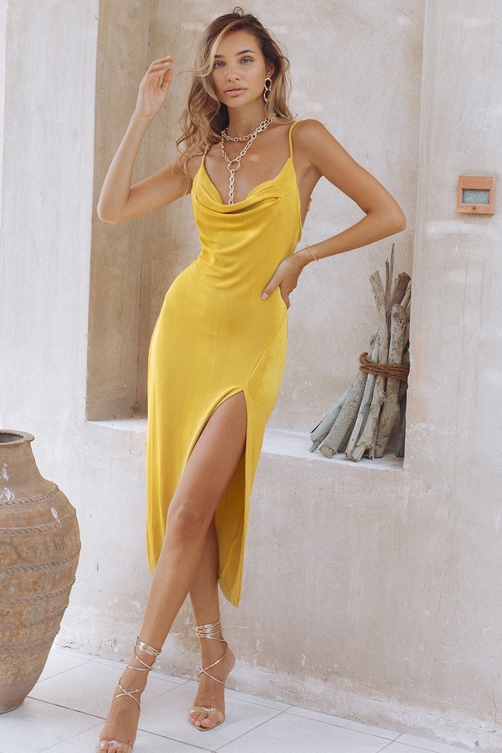 SLINKY SLIP DRESS - BUTTERSCOTCH
