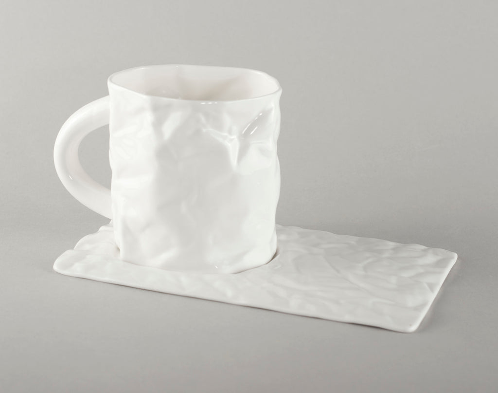 Porcelain Crumpled Tea Mug Base (mug not included)