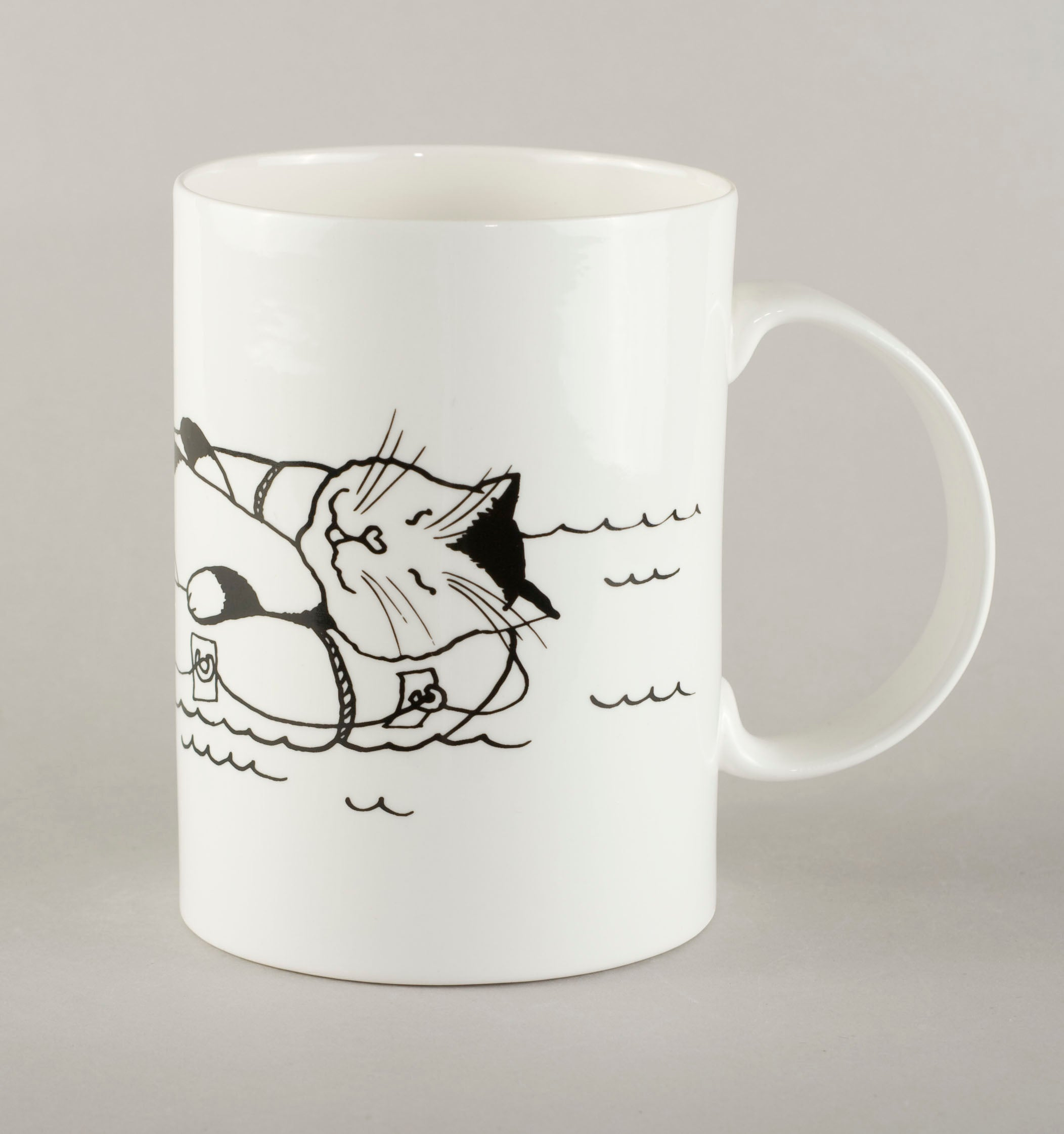 Cat on a raft. Large Mug