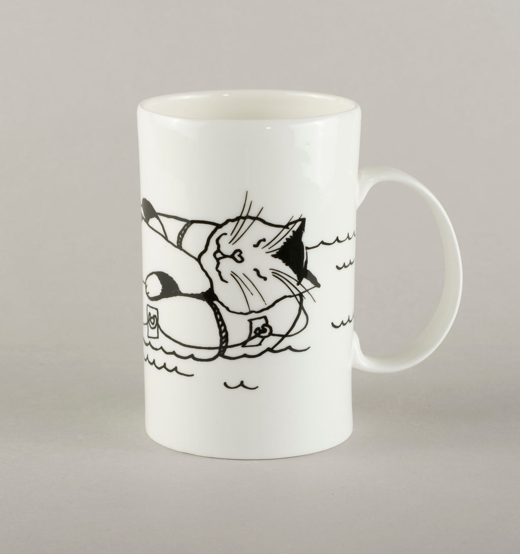 Cat on a raft. Medium Mug
