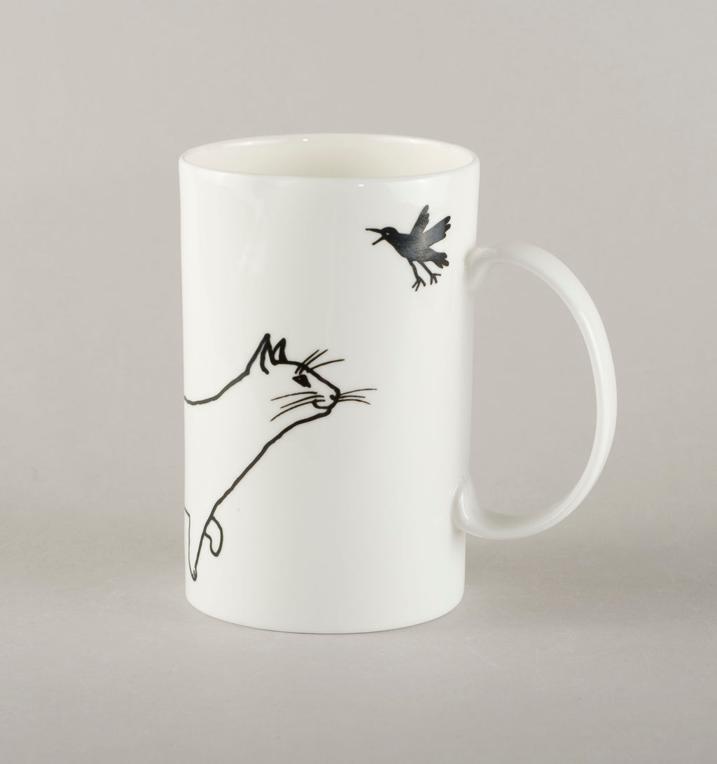Cat with a bird. Medium Mug