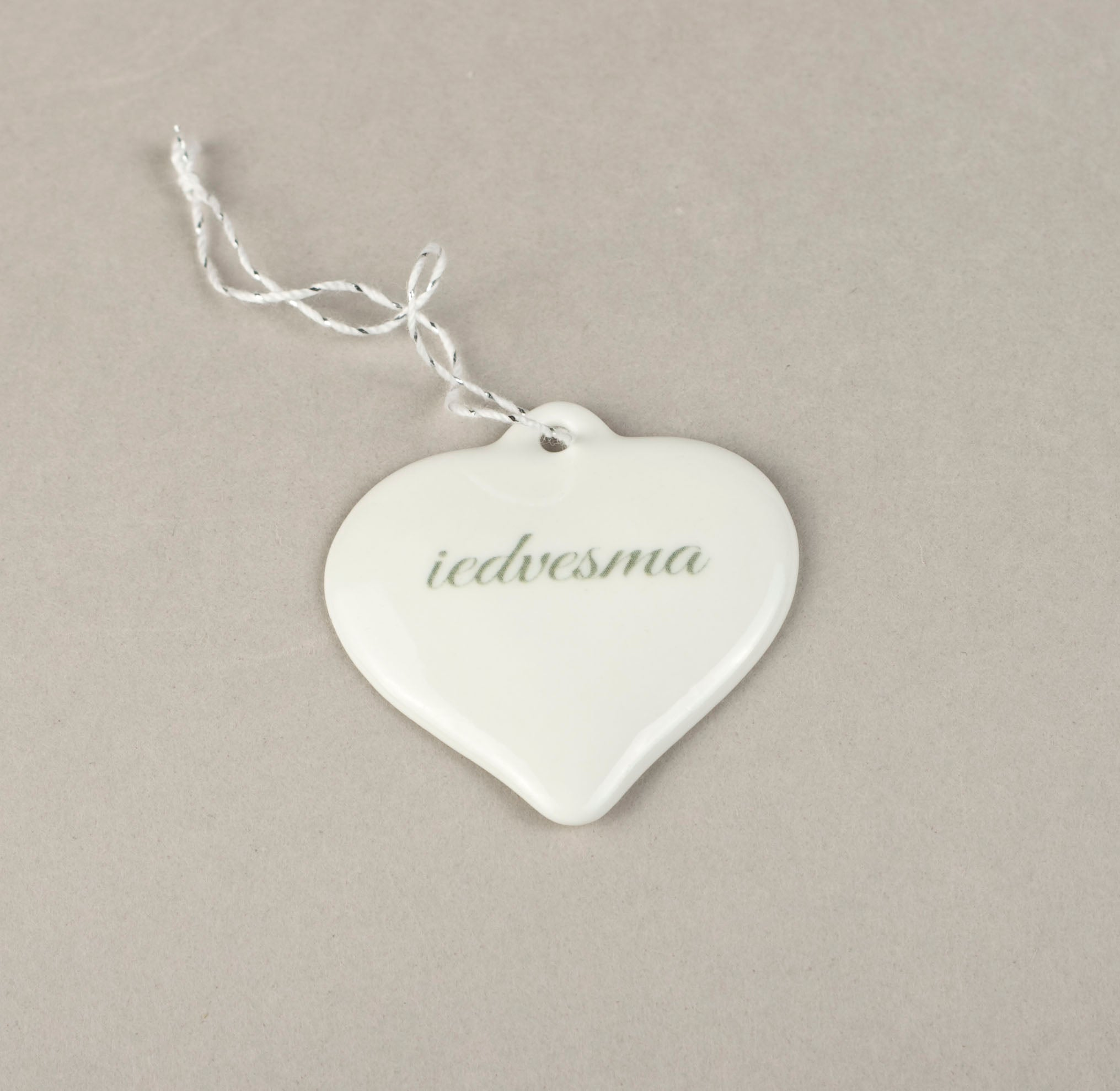 Porcelain Decorations For Christmas Trees - Heart With Print