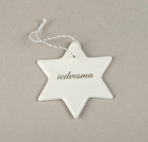 Porcelain Decorations For Christmas Trees - Star With Print