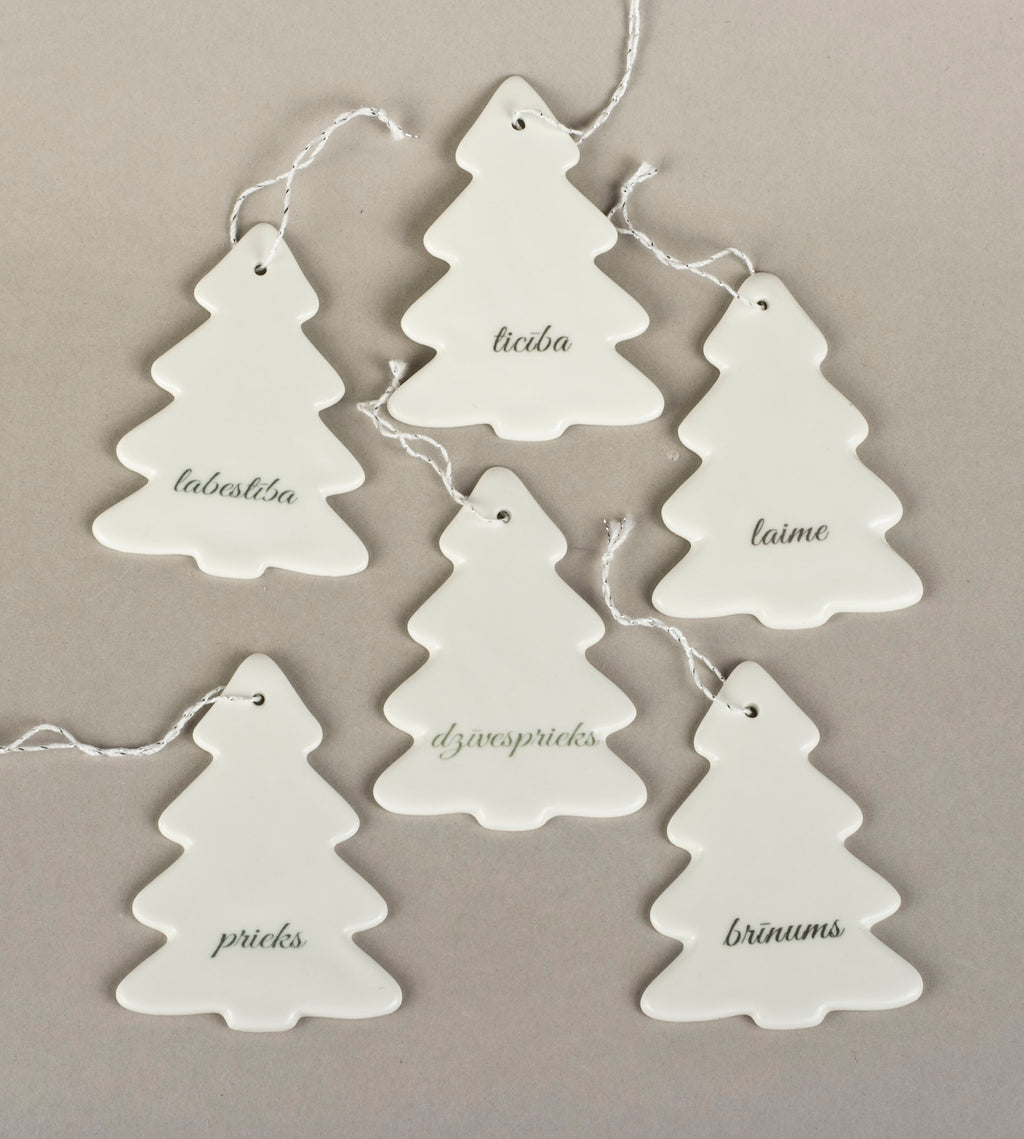 Porcelain Decorations For Christmas Trees - Christmas Tree With Print