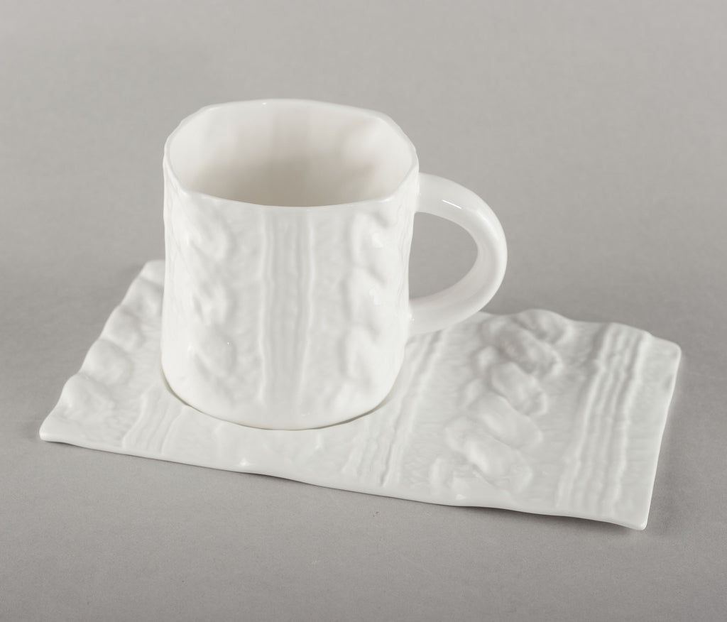 Porcelain Knitted Coffee Mug Base (mug not included)