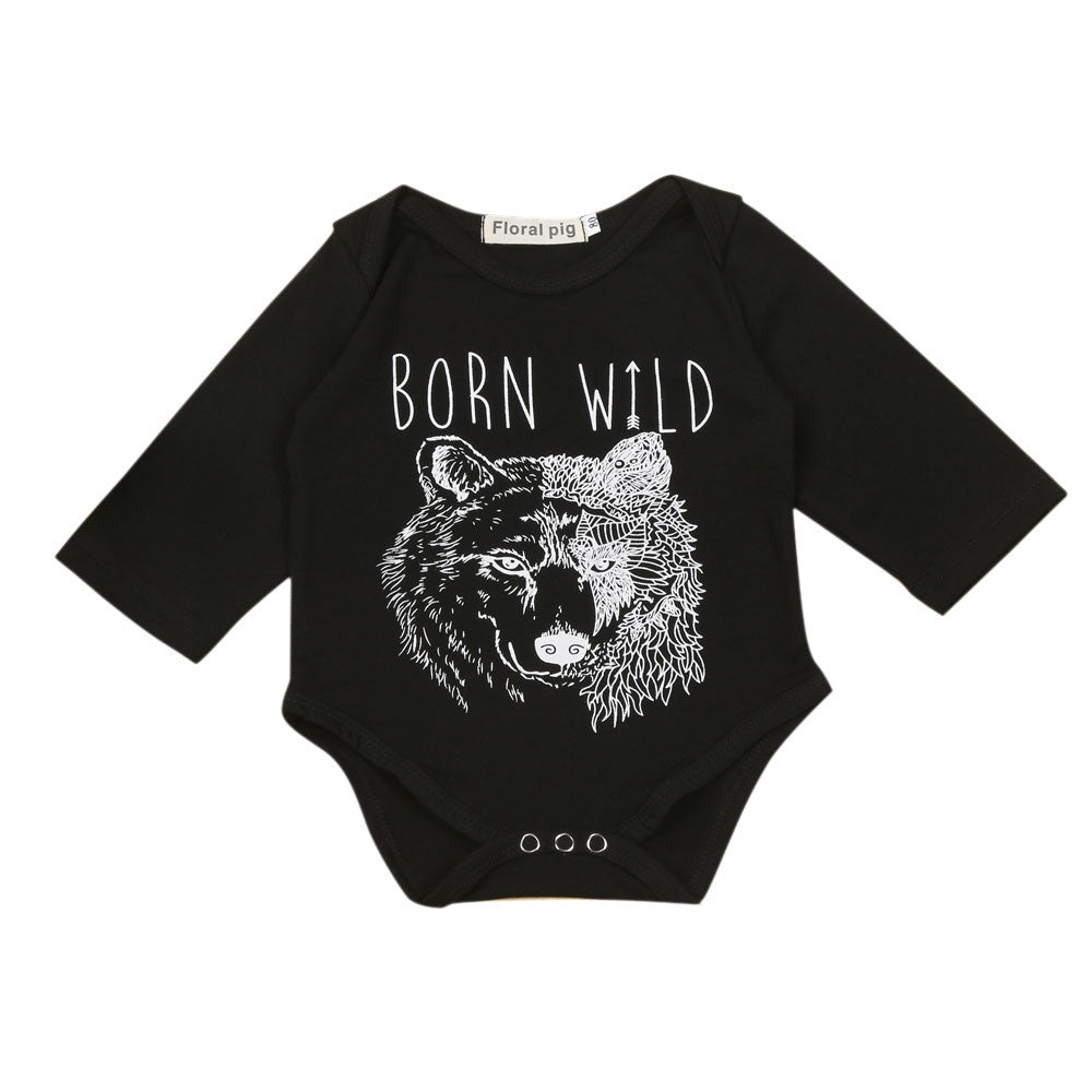 "Long Sleeve Wolf Print Letter Jumpsuit ""BORN WILD"""