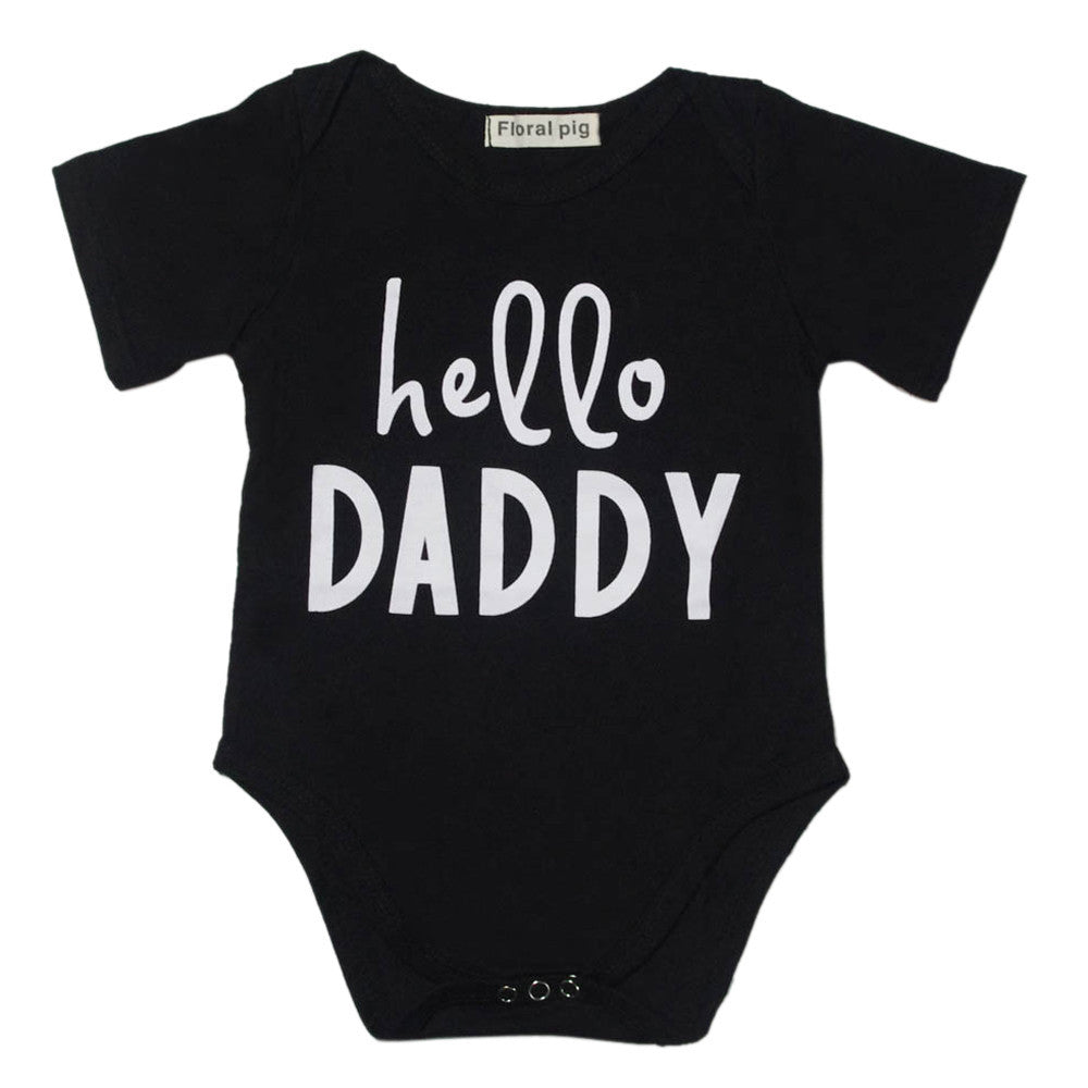 Newborn Baby Romper Letter Prints O-neck Short Sleeve